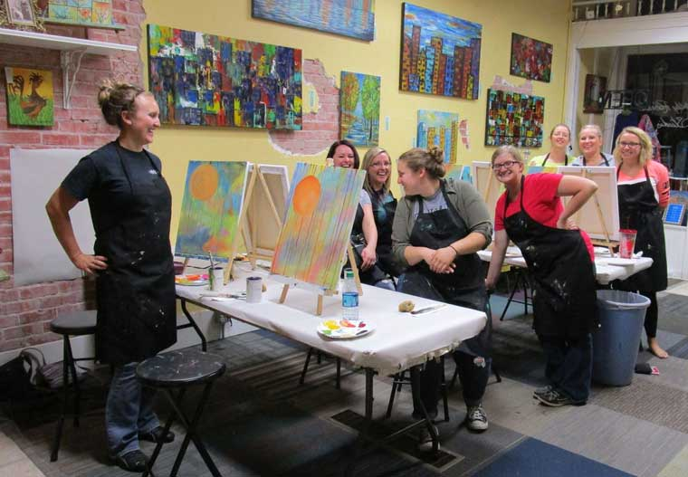 As you can see from these photos of two different classes, everyone has so much fun and classes are not gender specific. With my Private Party Classes you and your friends (or co-workers) will create lifelong memories!